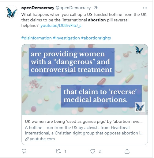 Image: openDemocracy attacks Abortion Pill Reversal (APR) (Image: Twitter)