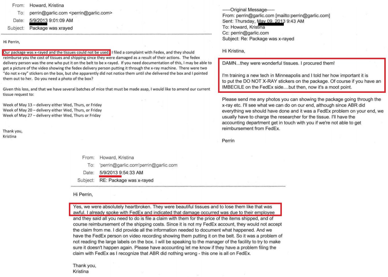 Image: FDA correspondence with ABR aborted Human Fetal Tissue Fed Ex unusable