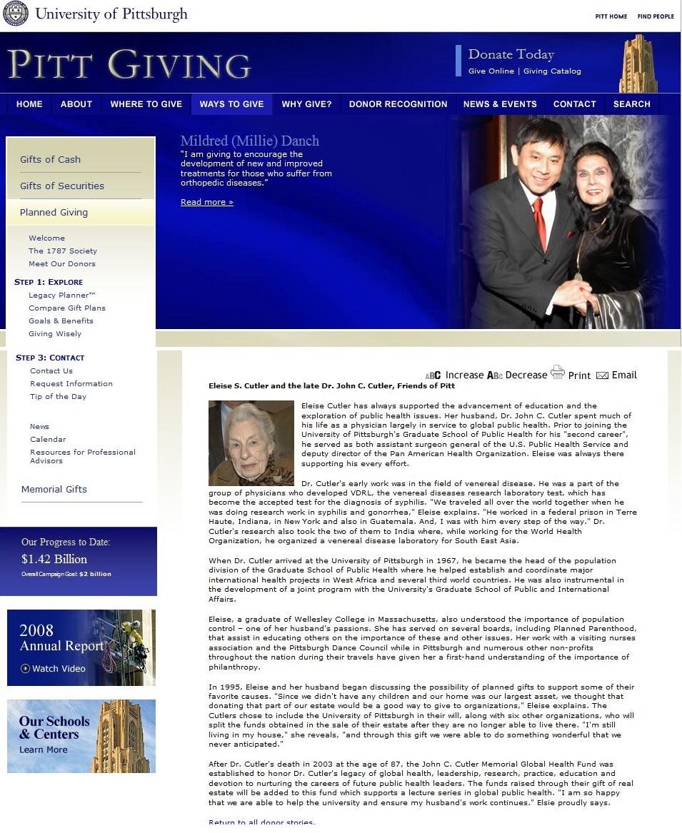 John C Cutler and Wife Eleise Cutler called Friend to Pitt