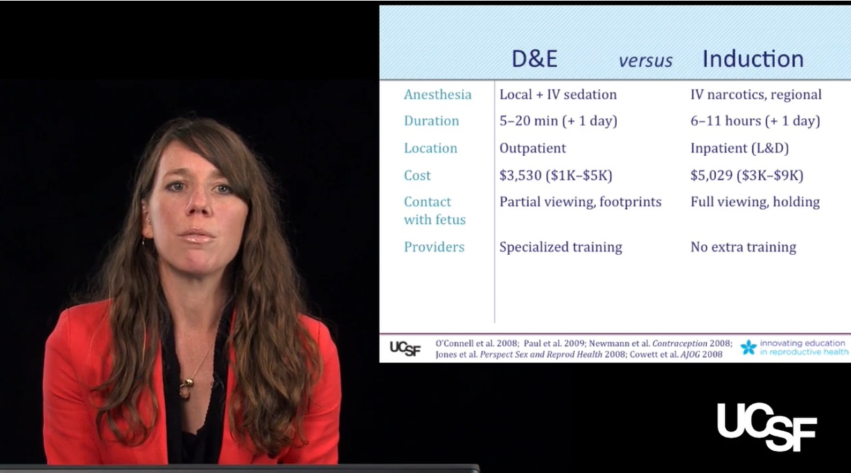 UCSF abortion training on reasons women choos dismemberment abortion (D+E) or intact abortion