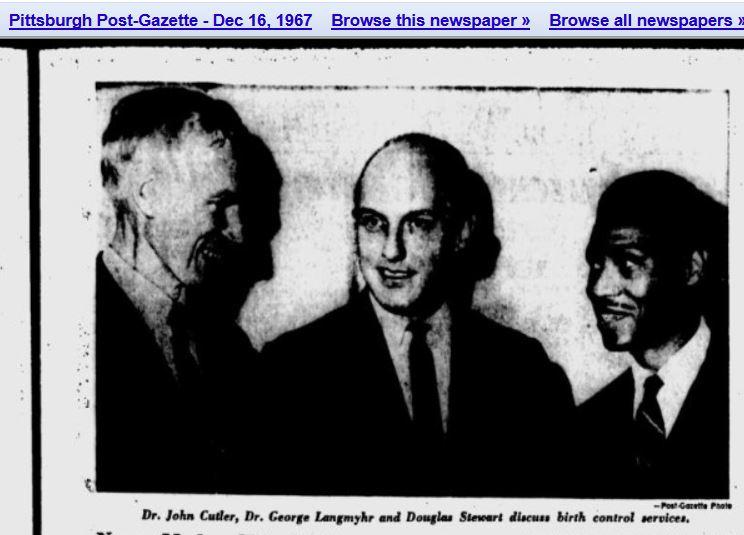 Image: John C Cutler Planned Parenthood board members George Langmyhr and Douglas Stewart (Image Post Gazette, 1967)