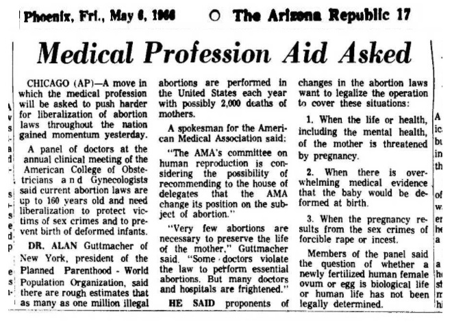 1966 ACOG annual meeting Alan F Guttmacher and AMA suggest abortion liberalization