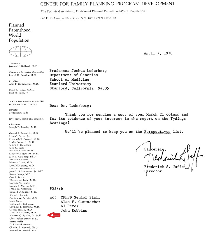 ACOG President Howard C Taylor sat on Guttmacher Board as Center for Family Planning 2