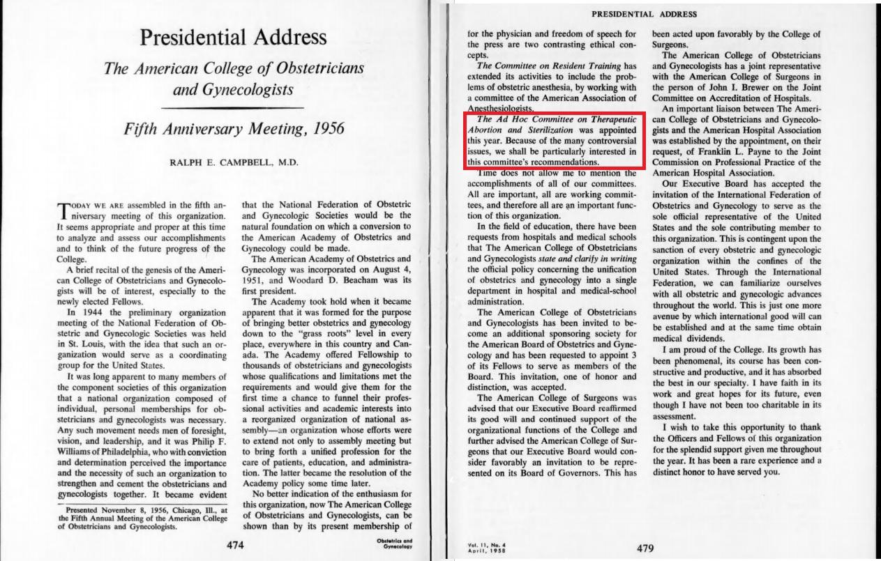 ACOG genesis by Ralph E Campbell 1956 speech begins abortion advocacy