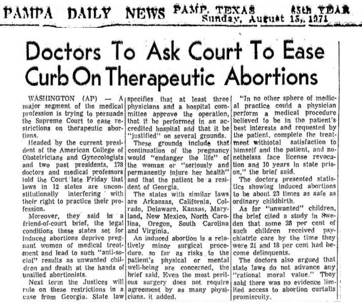 ACOG on abortion 1971