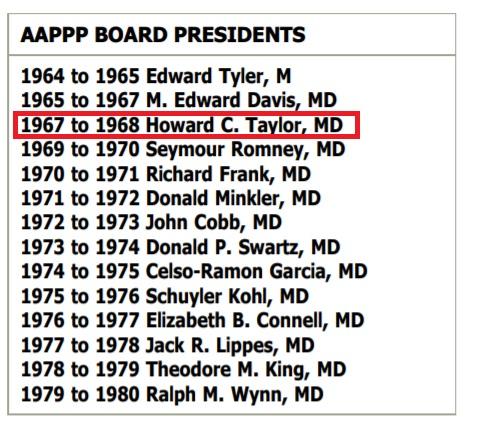 ACOG prez Howard c Taylor also prez of American Association of Planned Parenthood Physicians (AAPP)
