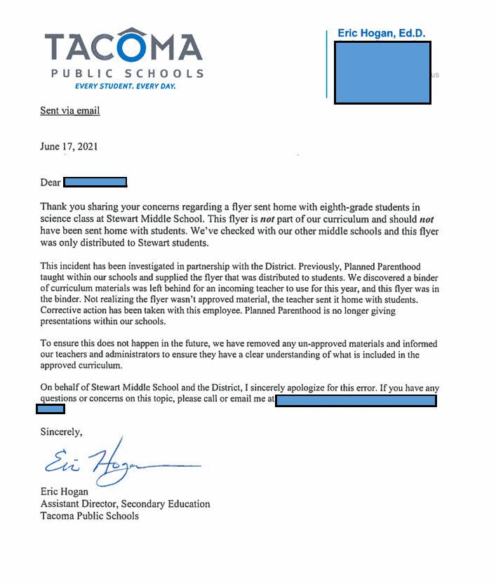tacoma public schools letter