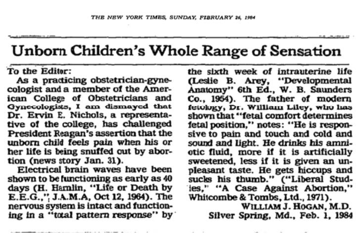 Image: ACOG member confirms preborn child feels pain (New York Times 02261984)