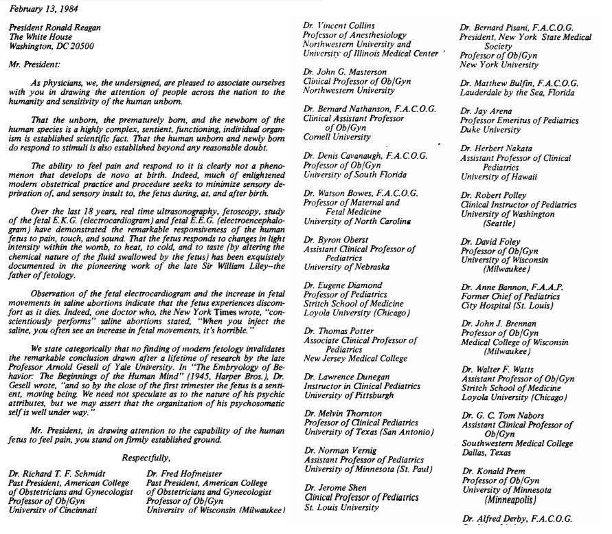 Image: ACOG past presidents 1984 letter to Ronald Reagan validating fetal pain