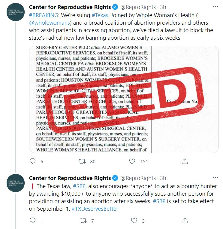 Center for repro rights twitter texas lawsuit