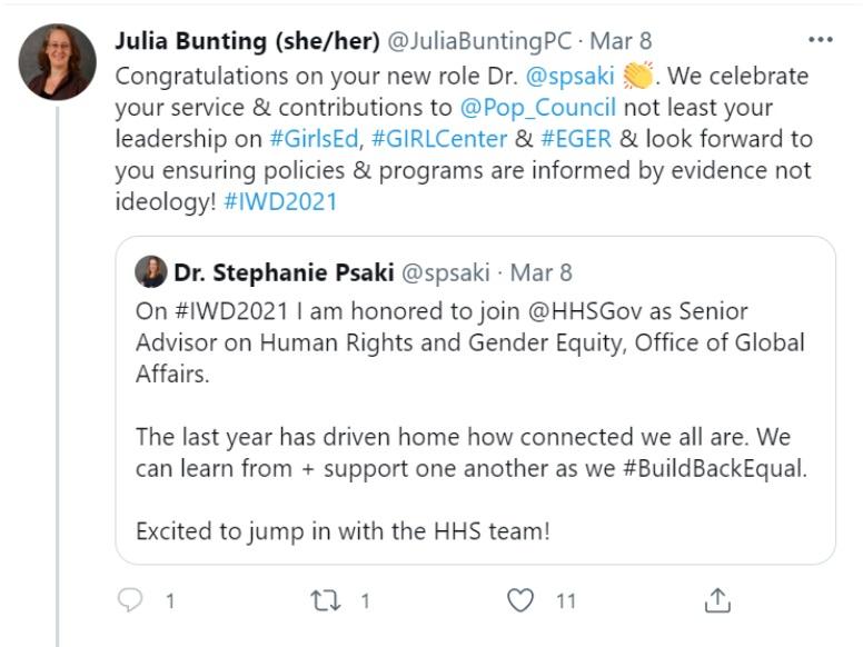 Population Council congratulates HHS advisor Stephanie Psaki Image Twitter