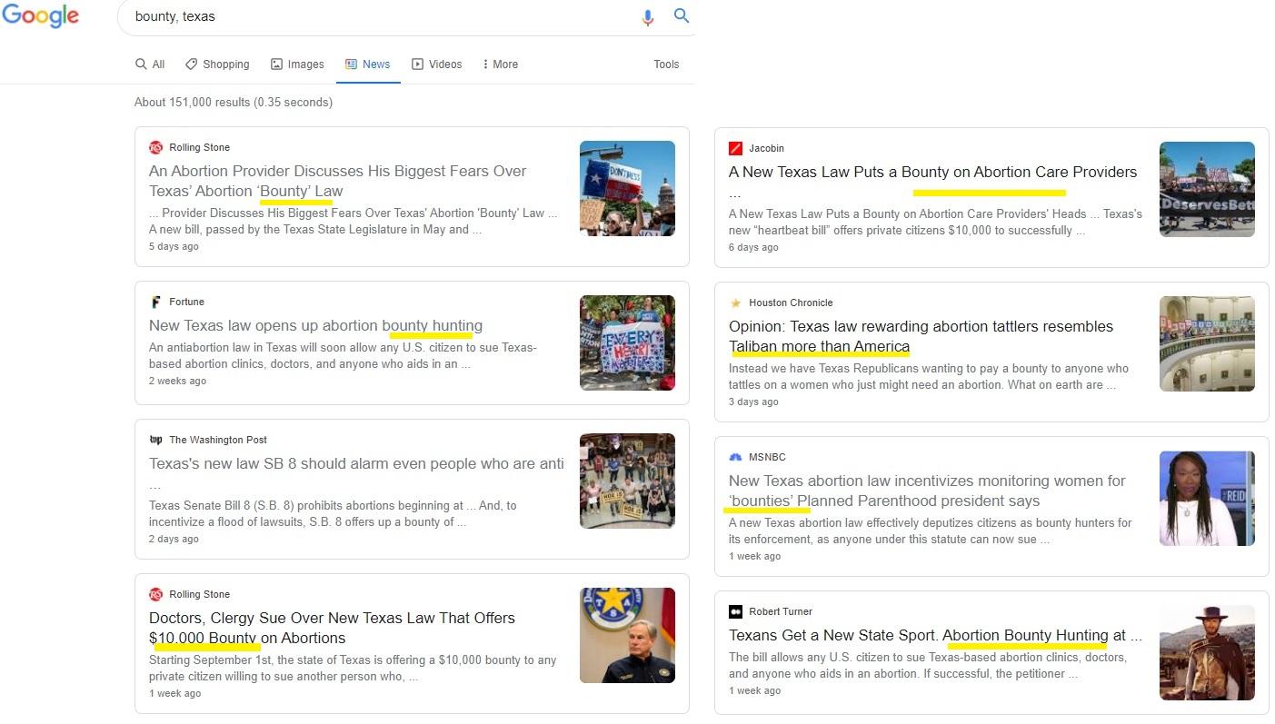 Image: Top Google News Stories claim Texas abortion bounty
