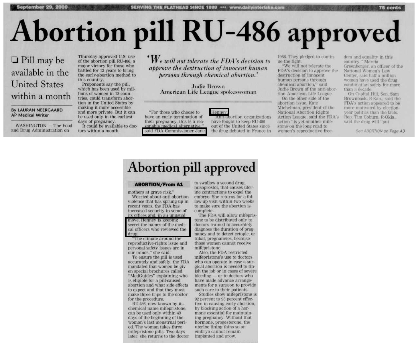 FDA keeps reviewers of abortion pill secret