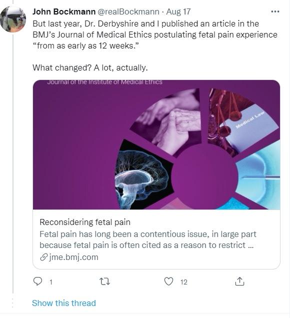 Image: John Bockmann tweets fetal pain research to ACOG (Image: Twitter)
