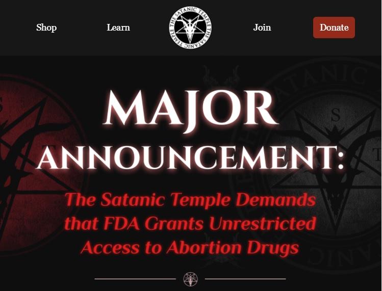 Satanic Temple demands FDA grant them access to dispense abortion drugs