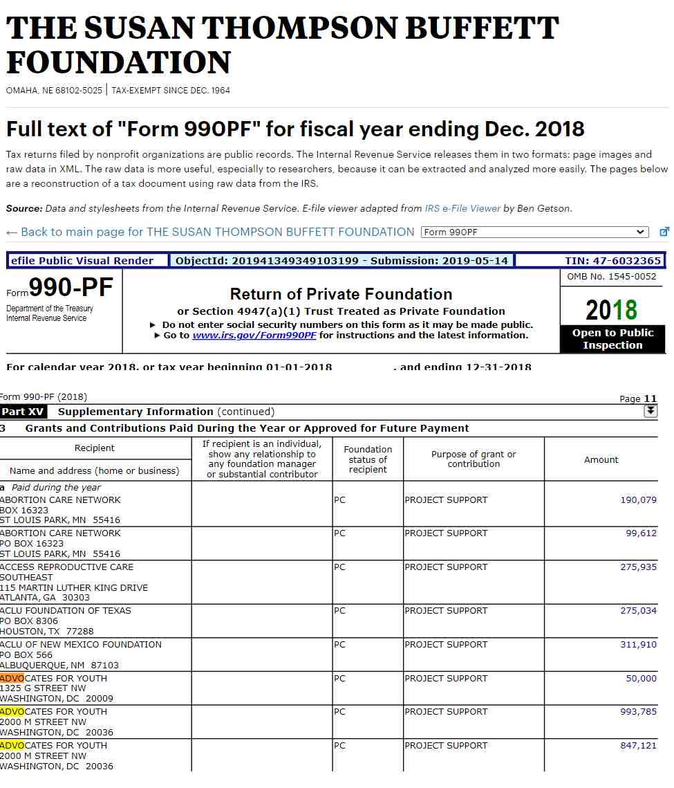 st buffett foundation