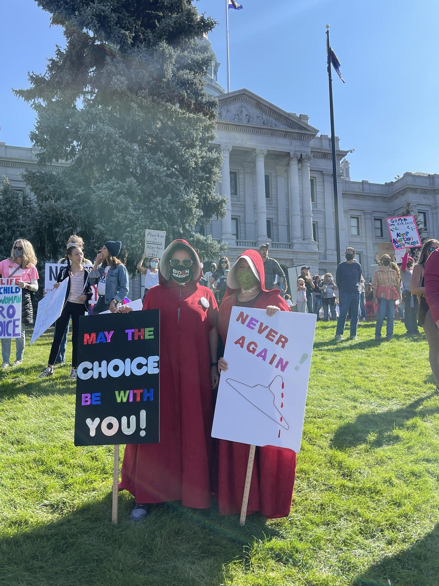 Image: Women's March Handmaiden holding Coat Hanger (Image: Twitter)